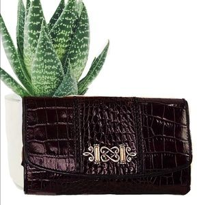 Brighton Brown Croc Cross Body Wallet